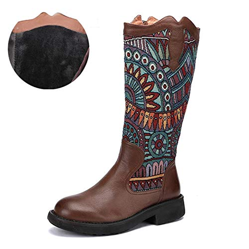 Women High Boots Leather Stylish Combat Boots Comfortable High Stretch Shoes Flat Heel with Good Support with Zipped Buckle Warm Lining,Brown Plus velvet,35