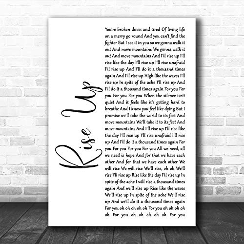 Andra Day Rise Up White Script Song Lyric Print Print Wall Decor Art Gifts Lovers Poster