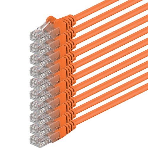 0,25m - arancione - 10 pezzi - Rete Cavi Cat6 CAT 6 | 250MHz | non contiene alogeni | compatibile con CAT 5e / CAT6a / CAT7 | 10 / 100 / 1000 / 10000 Mbit / s | per switch, router, modem, Patchpannel, Access Point, pannelli di permutazione