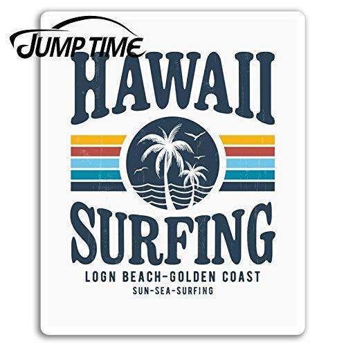 BLOUR Zeit Hawaii Surfen Vinyl Aufkleber Surf Surfer Coole Aufkleber Laptop Wasserdichtes Auto Aufkleber Fenster Stoßstange Auto Zubehör Sprung