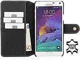 StilGut Talis mit Druckknopf, Hülle aus Leder mit Kreditkartenfach für Samsung Galaxy Note 4, schwarz Nappa