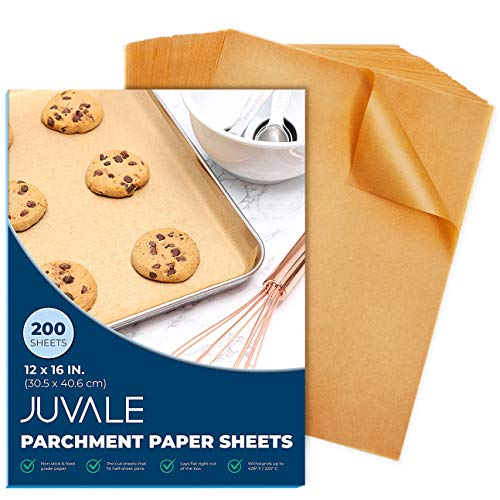 Parchment Paper Sheets - 200-Count Precut Unbleached Parchment Paper for Baking, Half Sheet Pans, Non-Stick Baking Sheet Paper, Brown, 12 x 16 Inches