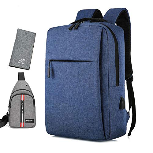 PETHOMEL Travel Laptop Backpack, Business Anti-Theft Work Computer Rucksack Fits 15.6 Inch Laptop with USB Charging Port,Water Resistant Casual Daypack School Bag with Wallet And Waist Bag,Gray