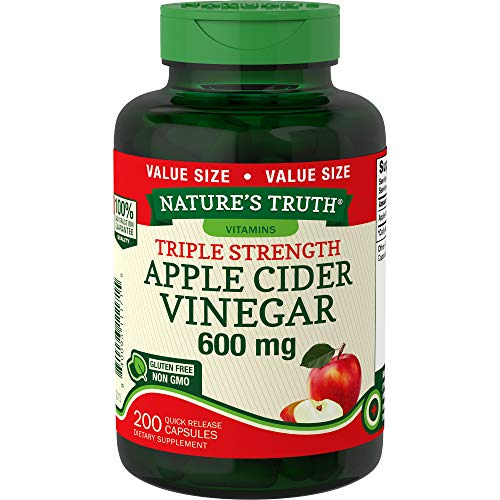Apple Cider Vinegar Capsules | 600mg | 200 Pills | Value Size | Vegetarian, Non-GMO, Gluten Free | by Nature's Truth