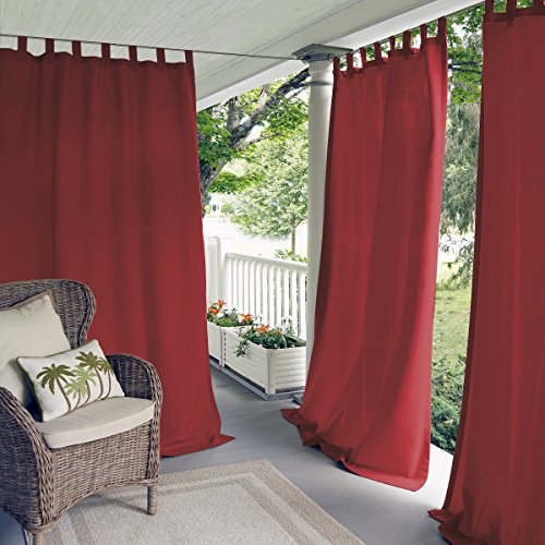 Matine Solid Tab Top Indoor/Outdoor Window Curtain for Patio, Porch, Cabana - 52 x 108 - Red - Elrene Home Fashions