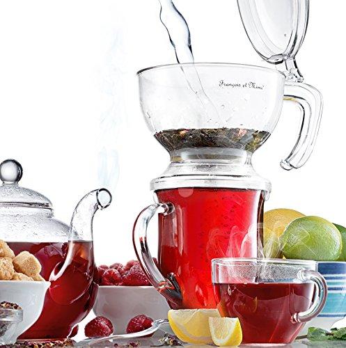Francois et Mimi Bottom-Dispensing Perfect Tea Maker Tea Brewer 16oz, Shatter-proof Acrylic Infuser Teapot