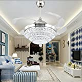 Retractable Chandelier Fan 42 inch Remote Control Crystal Ceiling Fan with Light Dimmable Crystal Invisible Ceiling Fan Lamp Contemporary Chic Crystal 3 Color Chandelier