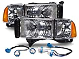 PERDE Halogen Headlights Compatible with Dodge Ram 1500 2500 3500 Sport Conversion Set With...