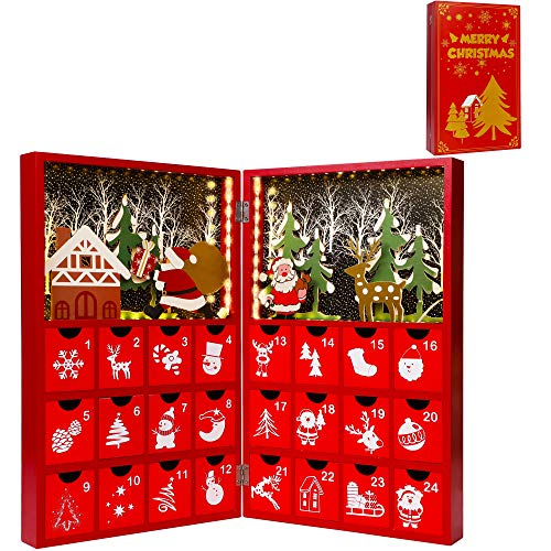 Juegoal Pre Lit Red Advent Calendar Wooden Lighted Christmas Book, Premium Hand Painted Christmas 24 Drawers Countdown to Christmas, Refillable Wooden Advent, Cute Holiday Decoration