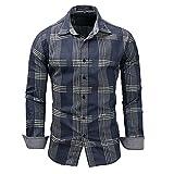 Camisa para Hombre a Cuadros de Manga Larga Casual Button Down Bolsillo Regular fit Denim Blue XL