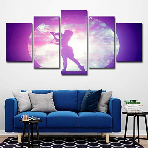 WHCCL Drucke auf Leinwand HD gedruckt 5 Stück Leinwand Kunst Mädchen mit Gitarre in der Nacht Malerei Modular gerahmte Wandbilder Raumdekor,10x15x210x20x210x25x1