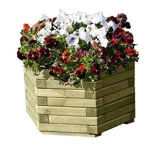 Gartenpirat Pflanzkasten 6-eckig Ø 60 x 33 cm Pflanzkübel aus Holz für außen