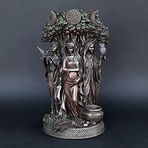 Maiden Mother Crone Statue Figurine Celtic Sacred Moon Triple Goddess Mother Maiden Crone Under Tree of Life Statue Altar Ornament,A