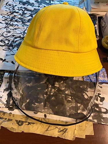 Kinderschutzkappe Fischerhut Anti-Spuckhut Kindergarten Anti-Spray Isolationsmaske Sonnenschutzhut Hut 5St-Gelb (schwarzer Rand)_S (54 cm)