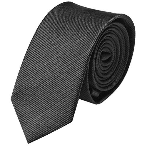 GASSANI Krawatte 6Cm Schmal Gestreift, Dünne Schwarze Grid Herrenkrawatte Zum Hemd Sakko Anzug, Slim Herren-Schlips Binder Mit Feinen Ripp-Streifen