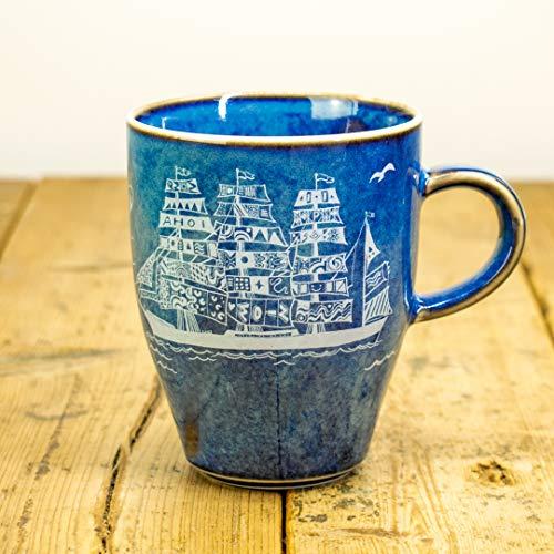 Kaffeebecher Segelschiffe Motiv - Maritime Porzellan-Tasse von Ahoi Marie in blau