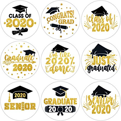 Class of 2020 Graduation Party Kisses Chocolate Stickers Labels-Graduation Party Decorations-270 Stickers(Golden)