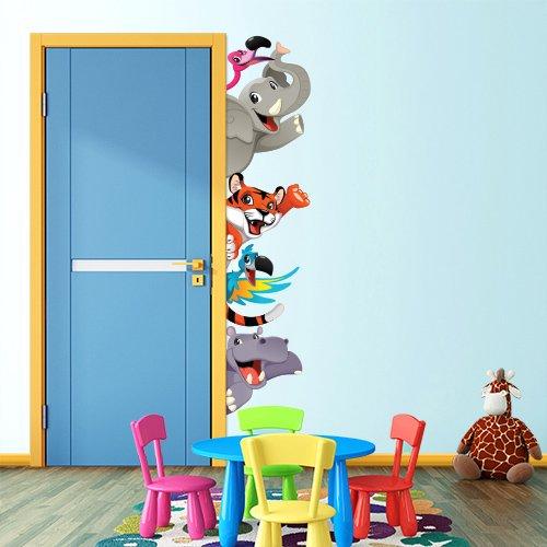 R00190 Stickers muraux effet tissu doux décoration murale bébé nouveau-né pépinière chambre maternelle papier peint adhésif - animaux de la savane Zoo