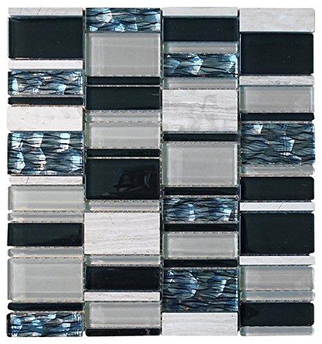White, Black and Blue Random Brick Rectangle Pattern Glass Mosaic Tiles for Bathroom and Kitchen Walls Kitchen Backsplashes