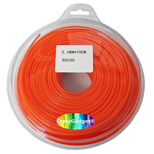 CrazyGadget® 100m Trimmer Strimmer Cord Line Nylon Round String Wire Garden Hedge Hand Grass Strimmer Refill 2.4mm x 100 Metre