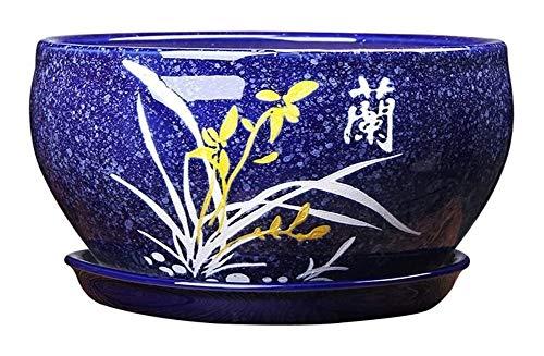 Gartengerät pot - blau Blumentopf, Orchidee Tulpe Keramik-Blumentopf Lagerregals Speicher runde Blumenbehälter eines anderen Oberflächenmuster Optionen Bettkopf dekorativer Pflanze Behälter Pflanzkübe