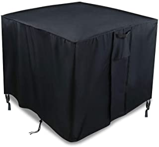TheElves Square Fire Pit Table Cover, 28x28x25 Inch Waterproof 600D Heavy Duty Patio Gas Firepit Table Cover,Black