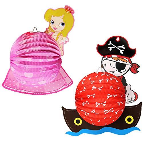 com-four® 2X Laterne mit Buntem Prinzessin und Pirat Motiv - Papierlaterne für Sankt Martin und Halloween - Martinslaterne für Kinder
