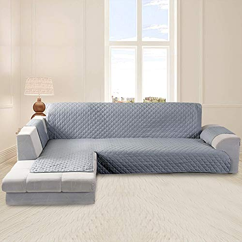 Funda Cubre Sofá Impermeable Funda Sofa Chaise Longue Protector para Sofás Diseño de Doble Cara con Chaise Longue Acolchada en Esquina para el Sofá en Forma de L Pelusa Antiadherente(Gris, 240cm)