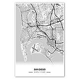 Zulumaps Poster 50x75cm Stadtplan San Diego - Hochwertiger