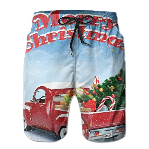 Men's Big and Tall Swim Trunks Beachwear Drawstring Summer Holiday,Pickup Truck Filed with Ornament Cold December Weather Snowflakes Merry Christmas,3D Print Shorts Pants,Large