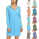 JABROCT Sunscreen Dress Women Upf 50+ Sun Protection Long-Sleeved Beach Dress,Solid Cover Up SPF Long Sleeve Sun Protection Athletic Hiking Hoodie Dress(A-Sky Blue,XX-Large)