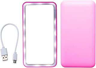 Easyinsmile Portable Vanity Mirror Makeup Mirror Cosmetic Personal Mirror Compact Small Rectangular for Travel Purse Car Pocket (with LED Light Electric USB Rechargeable, Pink)