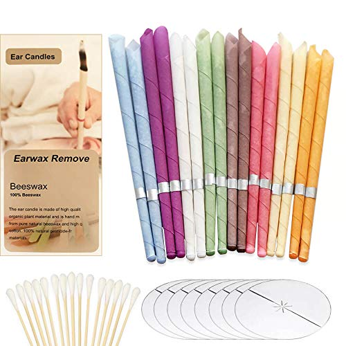 Natural Ear Candles Beeswax Candling Cones, Fragrance Organic Plant Material Hollow Cone Candles 16 Pcs (8 Colours), Hollow Cone Candles with 8 Protective Disks
