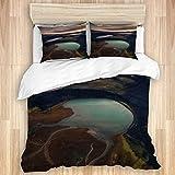 VAMIX Bedding Juego de Funda de Edredón,Islandia Tierras Altas ríos Nubes Puesta de Sol Paisaje aéreo,Microfibra Funda de Nórdico y Fundas de Almohada-(Cama 200 x 200cm)