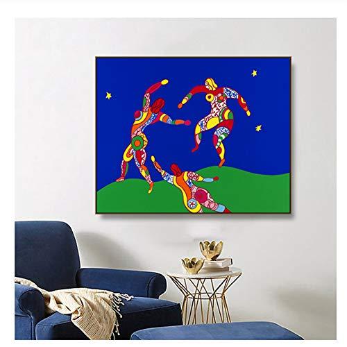 Niki De Saint Phalle Der Tanz abstrakte Ölgemälde auf Leinwand Zeichnung Kunst Spray Wandkunst für Wohnzimmer Schlafzimmer-24X32 Zoll ohne Rahmen