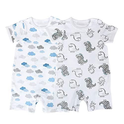 Baby nest Baby Nest 夏 ベビー服 半袖ロンパース 2枚セット 女の子 男の子 肩ボタン 動物柄 コットン セット4 6-9M