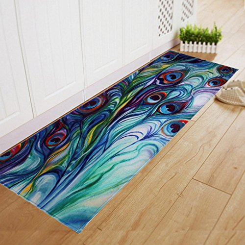 Transer Dining Room Carpet Shaggy Soft Area Rug Bedroom Rectangle Floor Mat 40 x 120CM (Multicolor)