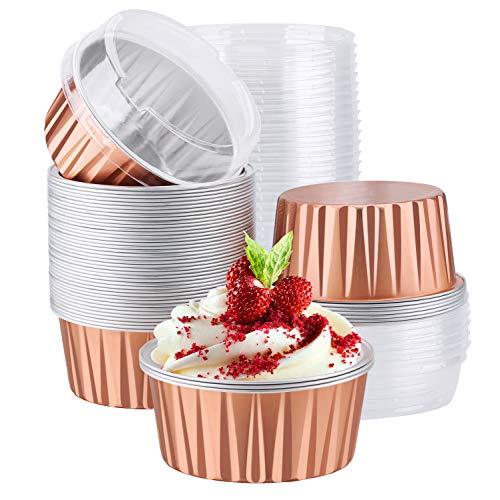 Disposable Ramekins, Eusoar 5oz 50pcs Foil Cupcake Liners, Aluminum Foil Muffin Liners Cups with Lids, Disposable Aluminum Foil Cupcake Baking Cups Holders Cases Boxes Pans with Lids