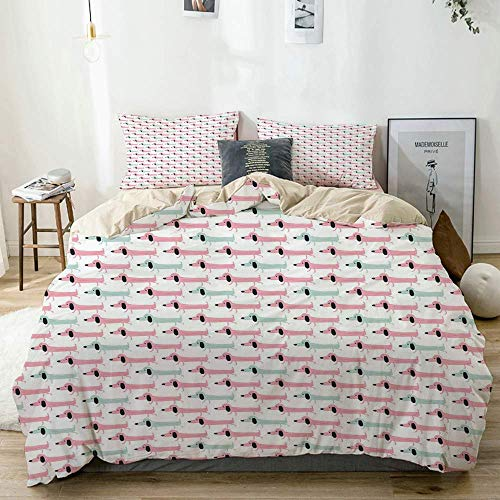 Qoqon Duvet Cover Set Beige,Pattern with Funny Stylized Cartoon Sausage Dogs,Decorative 3 Piece Bedding Set with 2 Pillow Shams