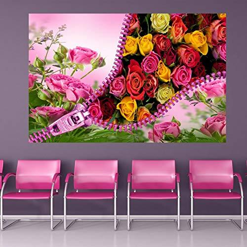 Rose Flowers Zip Wall Stickers Mural Decal Print Art Beauty Salon Decor EP19