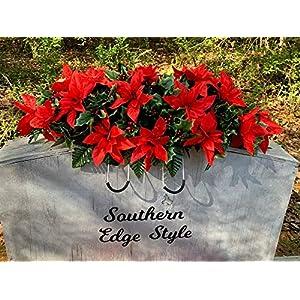 Poinsettia Cemetery Decoration, Christmas Headstone Decoration, Grave Decoration, Grave Blanket, Christmas Gravesite Flowers.