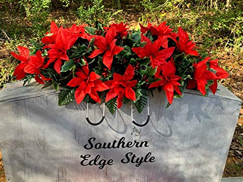 Poinsettia Cemetery Decoration, Christmas Headstone Decoration, Grave Decoration, Grave Blanket, Christmas Gravesite Flowers.