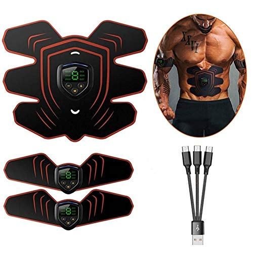 FangFang EMS Muscle Electro Stimulator Bauchmuskeln Toner Abs Trainer mit LCD-Display USB aufladbare Fitness Trainingsgeräte Ab Gürtel