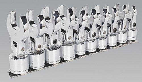 Sealey S01043 Maulschlüssel-Set, Krähenfuß-Aufsatz, beweglich, offene Unterseite, metrisch, 9,5mm (3/8Zoll)