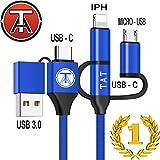 Cable Multi USB 5 en 1 (Rare) - Cable USB Multi Embout, Multi Connecteur, USB C, Micro-USB, Phone, 3 en 1, Compatible Manette PS4 ou Xbox, Cable USB Data + Charge Rapide, 100cm