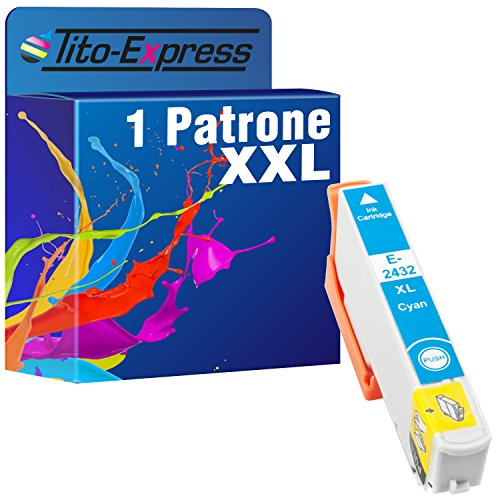 Tito-Express PlatinumSerie 1x Druckerpatrone XXL TE2432 Cyan kompatibel mit Epson Expression Photo XP-55 XP-750 XP-760 XP-850 XP-860 XP-950 XP-960