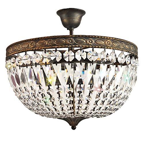 Kristall Deckenleuchte,Antike Kristall Deckenlampe für Flur, Florence Ø40cm Gold 4 Flammig gefertigt aus geschliffenen funkelnden Kristallen