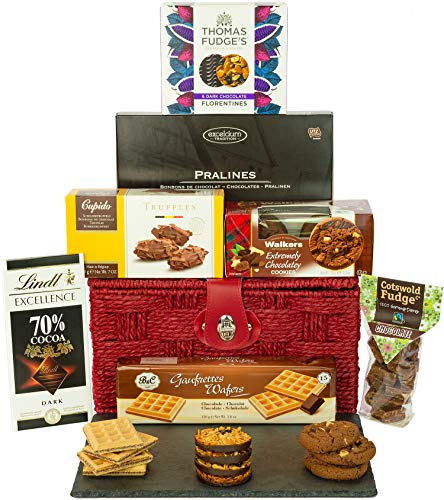 Chocolate Heaven Hamper is a heavenly selection of Tasty Chocolate Treats from Chocolate Florentines, Triple Chocolate Cookies, wafers and more all presented in a 12inch Woven Red Rope Basket with Name-a-Rose Gift