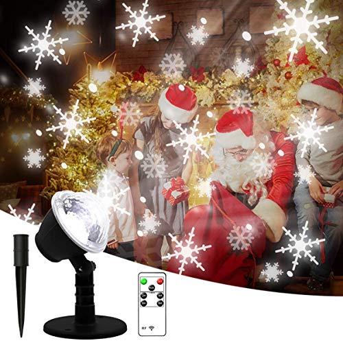 Smithroad Led-projectorlamp met timer, sneeuwvlokken patroon sneeuwvlok wit, kerstverlichting buiten binnen, Kerstmis projector lamp met afstandsbediening, kerstdecoratie tuin IP65