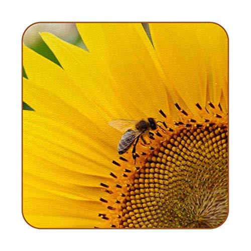 Bennigiry Posavasos cuadrados de piel con diseño de abeja con girasol amarillo, taza de café, taza de cristal, manteles individuales, 6 unidades
